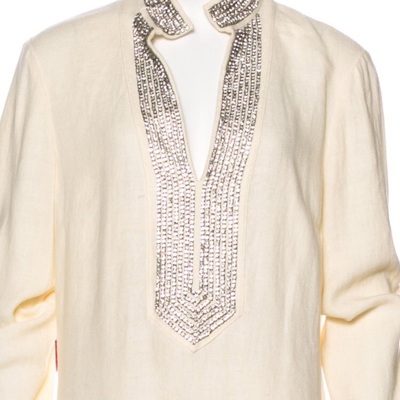 3c97176345559 Tory burch tops tory burch swarovski crystal embellished tunic jpg 580x580 Tory  burch sleeveless beaded tunic